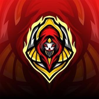 Świetne Maskowane Logo Maskotki Dla Wojowników Premium Wektorów