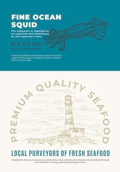 Świetne owoce morza z oceanu. projekt opakowania streszczenie wektor lub etykiety. nowoczesna typografia i ręcznie rysowana sylwetka szkicu kałamarnicy z układem tła latarni morskiej