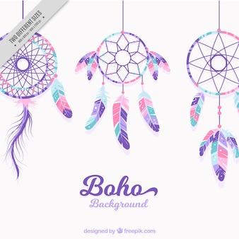 Świetne tło z dreamcatchers w pastelowych kolorach