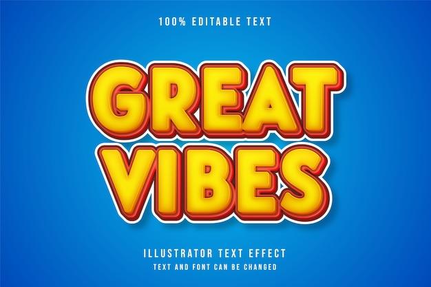 Świetne wibracje, edytowalny efekt tekstowy żółty efekt gradacji czerwony styl gry