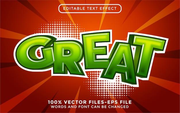 Świetny tekst 3d. edytowalny efekt tekstowy z wektorami premium w stylu kreskówki