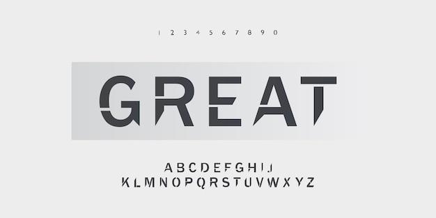Świetny typograficzny alfabet czcionki o ostrym kształcie