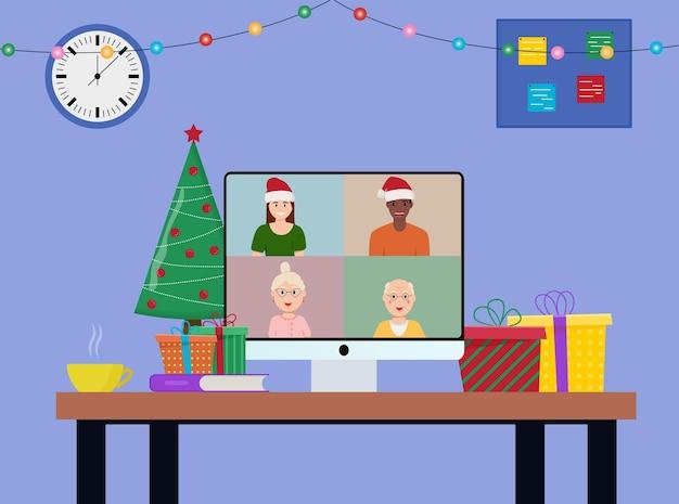 Święto bożego narodzenia i nowego roku w internecie. impreza online, rozmowa wideo. ilustracja wektorowa płaski.