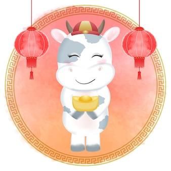 Święto chińskiego nowego roku, znak roku zodiaku krowa