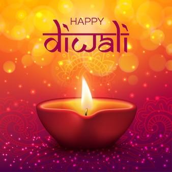 Święto diwali święto indyjskie i happy dipavali, lampion ze świecami ze złotymi błyskami bokeh. happy diwali pozdrowienie, ornament mandali rangoli i światło lampy latarni, świecące tło
