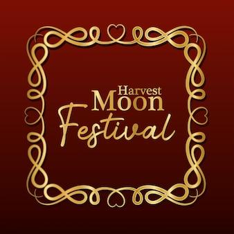 Święto dożynek księżyca w złotej ramie ornamentu na ciemnoczerwonym tle, orientalny chiński i motyw uroczystości.