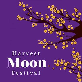 Święto dożynek księżyca z drzewem kwiatów