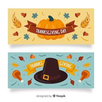 Święto dziękczynienia banery motyw rysowane ręcznie