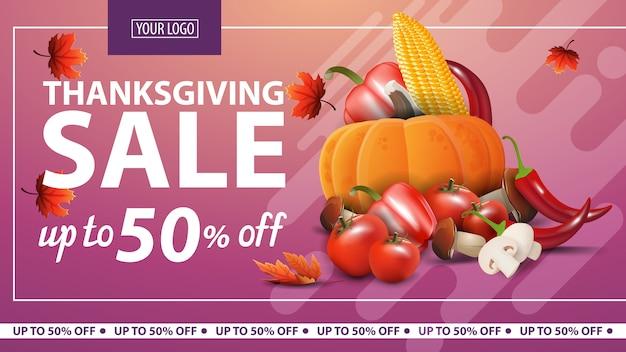 Święto dziękczynienia, do 50% taniej, poziomy różowy baner internetowy z jesiennymi zbiorami.