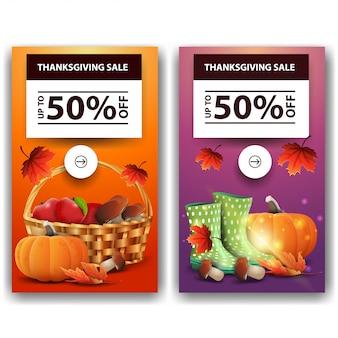 Święto dziękczynienia, do 50% zniżki, dwa pionowe banery rabatowe. pomarańczowy i drukuj szablon dziękczynienia zniżki