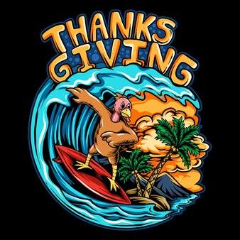 Święto dziękczynienia indyk jeżdżący na desce surfingowej po falach oceanu na pięknej plaży z kokosem