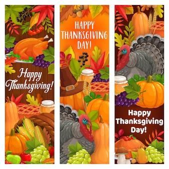 Święto dziękczynienia indyk, żniwa, róg obfitości