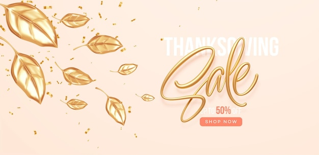 Święto dziękczynienia lub jesienny baner sprzedaży z spadającymi złotymi liśćmi. jesienna wyprzedaż tło ze złotymi liśćmi. ilustracja wektorowa