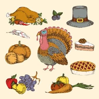 Święto dziękczynienia ręcznie rysowane kolorowy zestaw