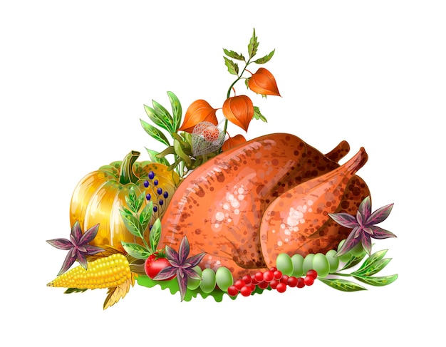 Święto dziękczynienia smażony indyk z warzywami i ziołami na białym tle