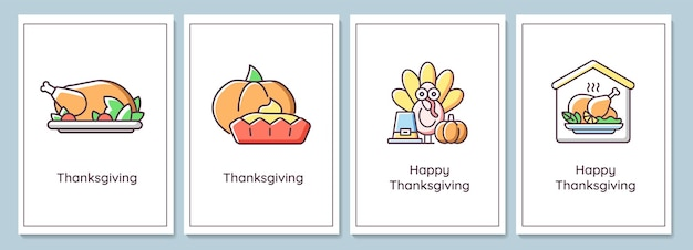 Święto dziękczynienia świętuje kartki z zestawem elementów kolor ikony. święto plonów. projekt wektor pocztówka. dekoracyjna ulotka z kreatywnymi ilustracjami. notatnik z wiadomością gratulacyjną