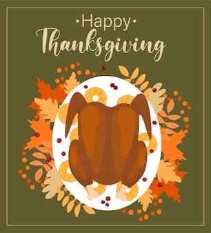 Święto dziękczynienia szablon wektor z napisem indyka i jesiennymi liśćmi