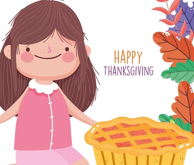 Święto dziękczynienia szczęśliwy słodkie dziewczyny z liści dyni ciasto