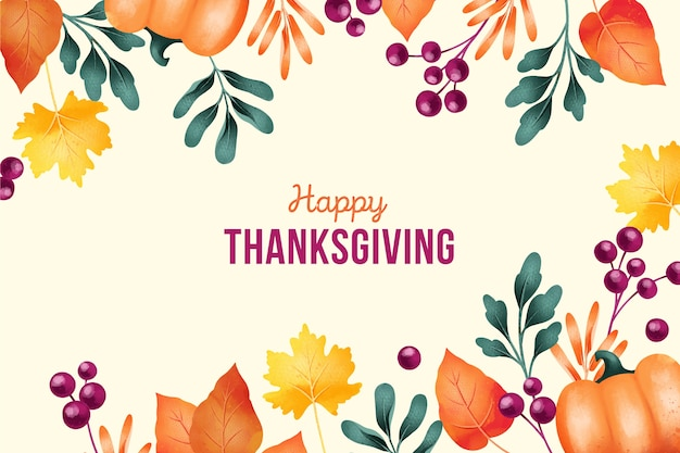 Święto dziękczynienia tło w akwareli