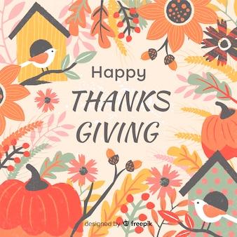 Święto dziękczynienia tło w płaski kształt z jesień elementami