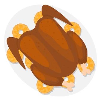 Święto dziękczynienia tradycyjne jedzenie święto dziękczynienia z indykiem z owocami i warzywami na talerzu