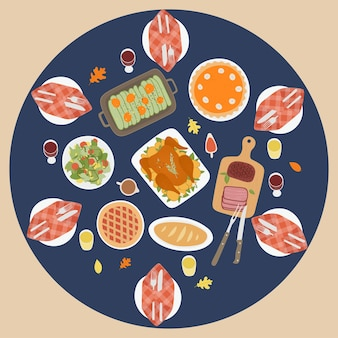 Święto dziękczynienia tradycyjne tło obiadowe z pieczonym indykiem ciasto z dyni okrągły widok z góry
