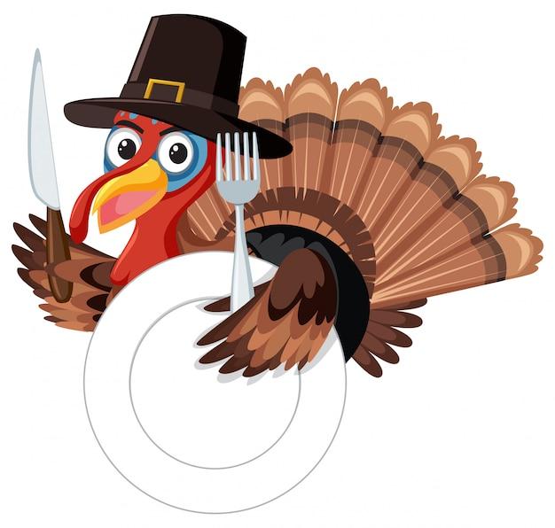 Święto dziękczynienia turcji z widelcem i nożem