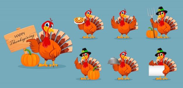 Święto dziękczynienia turcji, zestaw siedmiu pozach