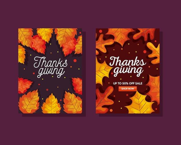 Święto dziękczynienia z jesiennymi liśćmi w projektowaniu banerów e-commerce, ilustracja motywu sezonu