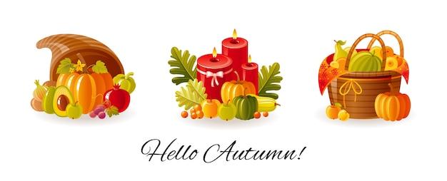 Święto dziękczynienia, zestaw jesiennych dożynek na farmie. róg obfitości, jesienne świece z liśćmi, kosz piknikowy z owocami i warzywami.