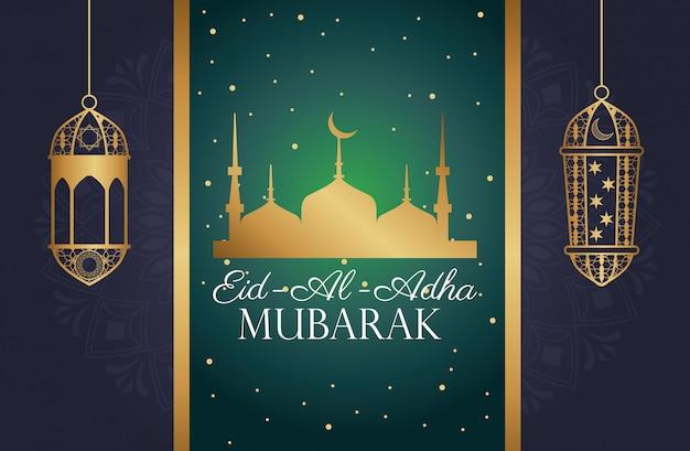 Święto eid al adha mubarak z meczetem taj mahal i latarniami