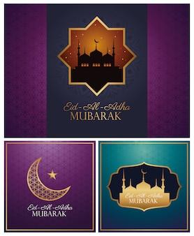 Święto eid al adha mubarak ze złotymi zestawami ikon