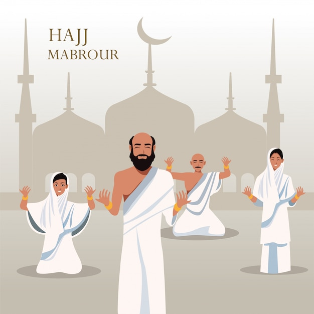 Święto hadżdż mabrour z grupą pielgrzymów islamskich w meczecie