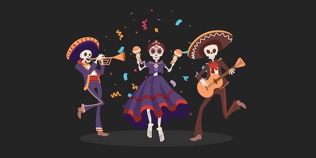 Święto halloween dia de los muertos. tradycyjny meksykański dzień zmarłych