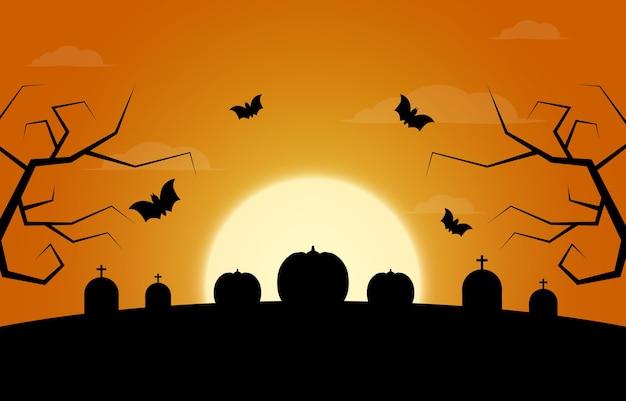 Święto halloween. trzy dynie, księżyc, drzewa, groby.