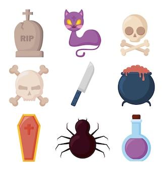 Święto halloween zestaw ikon