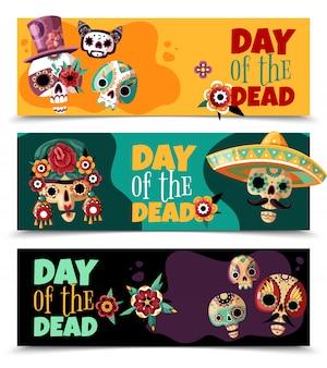 Święto martwego dnia 3 kolorowe poziome bannery z zabawnymi ozdobnymi maskami czaszki