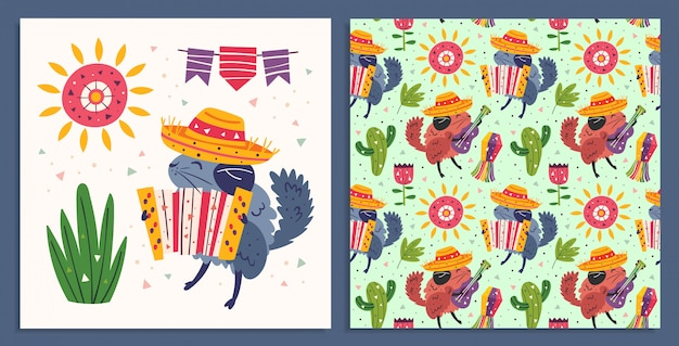 Święto meksyku. małe słodkie szynszyle w sombrero z gitarą, akordeonem. kaktus, pinata, słońce i kwiat. meksykańska impreza. płaski kolorowy wzór