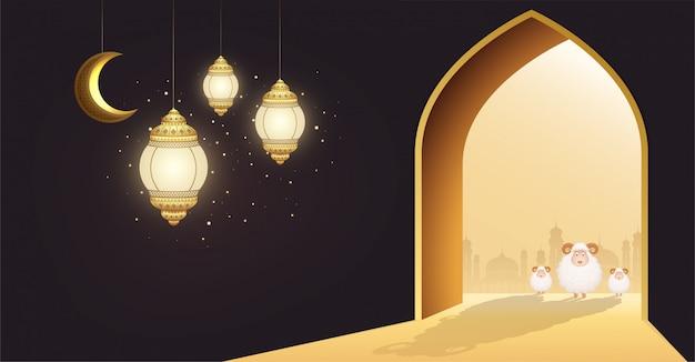 Święto muzułmańskie eid al-adha. biała owca lub ofiara z barana przy drzwiach meczetu z półksiężycem i świecącymi latarniami.