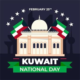 Święto narodowe kuwejtu w płaskiej konstrukcji