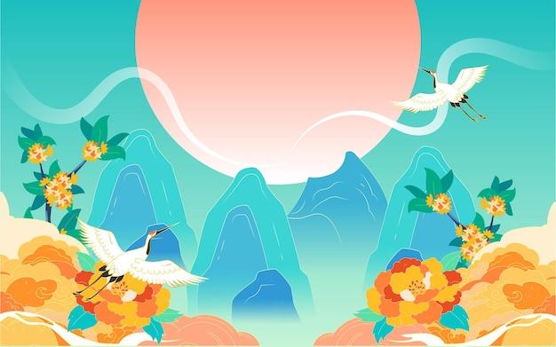 Święto narodowe wakacje wakacje ilustracja ilustracja chińska świątynia nieba budynek plakat