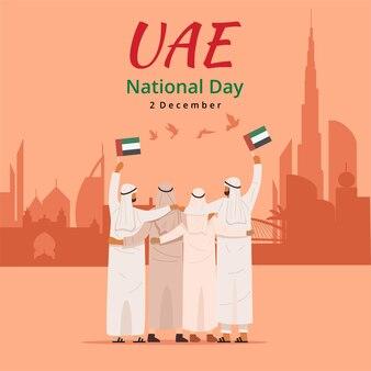 Święto narodowe zea, widok z tyłu arabów przytulających się razem i trzymających flagę zjednoczonych emiratów arabskich, wektor