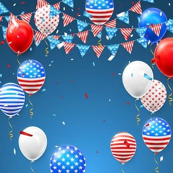 Święto niepodległości 4 lipca z konfetti i balonami flagi ameryki.