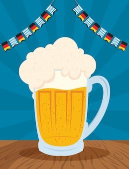 Święto oktoberfest ze słoikiem piwa i girlandami ilustracji wektorowych