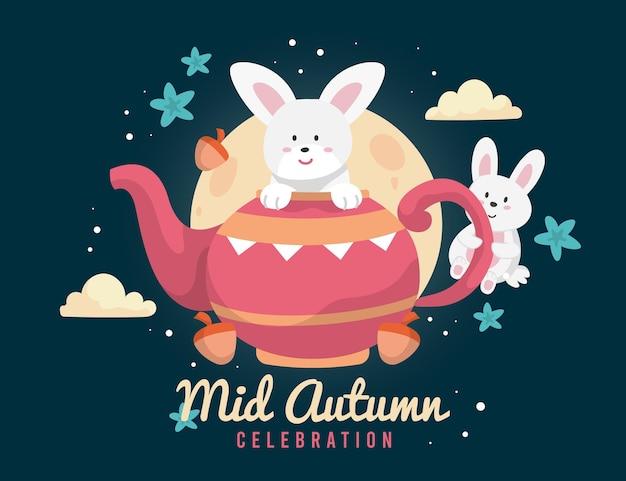 Święto połowy jesieni z dzbankiem do herbaty i króliczkiem