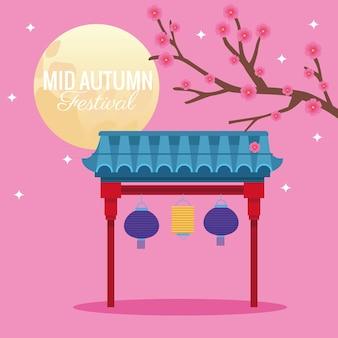 Święto połowy jesieni z kwiatami, drzewem i sceną księżyca