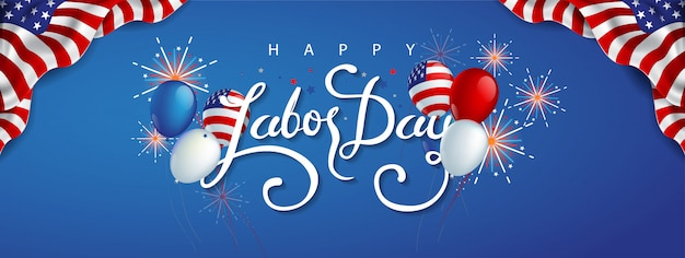 Święto pracy szablon banera reklamowego z balonami z flagą amerykańską i kolorowymi fajerwerkami.