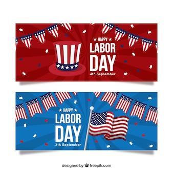 Święto pracy sztandary z flaga amerykańskimi