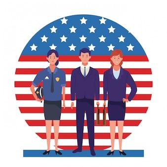 Święto pracy zawód zawód święto narodowe profesjonaliści pracownicy przed amerykańską flagą stanów zjednoczonych ilustracji