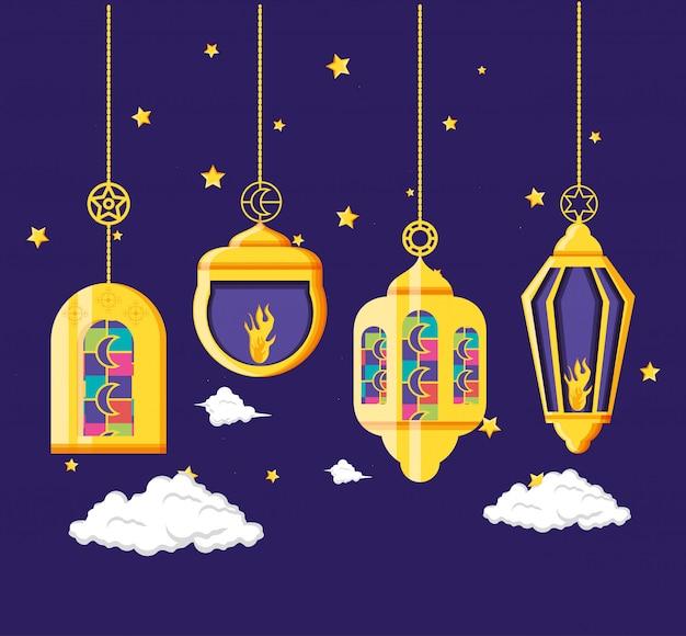 Święto ramadan kareen z wiszącymi lampami